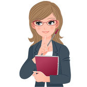 Professor de óculos óculos tocando o queixo com índice fingher — Vetorial Stock