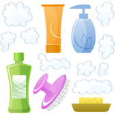 Bottles of body and hair care and beauty products — Stock Vector