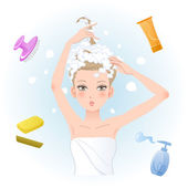 Young woman soaping her hair — Vector de stock