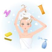 皂洗她的头发的年轻女子 — 图库矢量图片