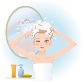 Pretty woman soaping her head — Vector de stock