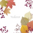 Stock Vector: Beautiful seasonal Background with autumn leaves and berries