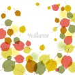 Stock Vector: Flying autumn leaves background with space for text