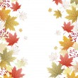 Stock Vector: Maple leaves corner background