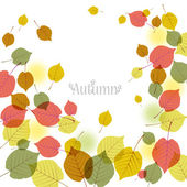 Flying autumn leaves background with space for text — Stockvector