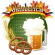 Round Oktoberfest Celebration design with beer and pretzel — Stock Vector