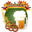 Stock Vector: Round Oktoberfest Celebration design with beer and pretzel
