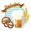 Round Oktoberfest Celebration banner with beer, pretzel,wheat ea — Stok Vektör