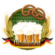 Woody frame Oktoberfest Celebration design with beer and pretzel — Stock Vector