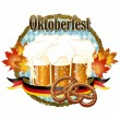 Woody frame Oktoberfest Celebration design with beer and pretzel — Stockvectorbeeld