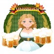 Bavarian Girl serving beer -  October fest — Stock Vector