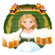 Bavarian Girl serving beer -  October fest — Stock vektor