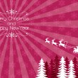 Chirstmas Holiday Backbround - Santa reindeer sleigh — Stockvectorbeeld