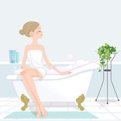 Youg woman sitting bathtub filled with pink bubble — Stok Vektör