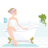 Yonug pretty girl sitting at pink bubbled bathtub — Stock Vector