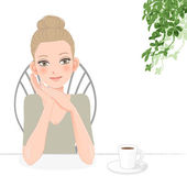 Pretty young woman relaxing with coffee — Stock Vector