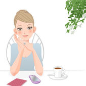 Cute woman relaxing at café with smart phone — Stock Vector