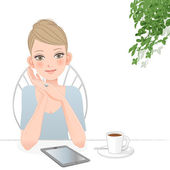 Beautiful woman with tablet computer at café — Stock Vector