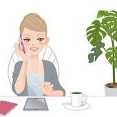 Beautiful executive woman talking on the phone with touch pad — Stock Vector