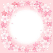 Spring Pink Cherry Blossoms Circle background — Stock Vector