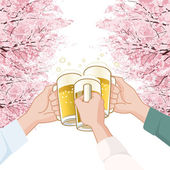 Toasting with beer under Cherry blossoms trees — Stock Vector