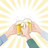 Toasting with beer — Stok Vektör