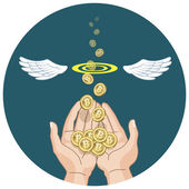 Bitcoins flying from hands and disappearing  — Stock Vector