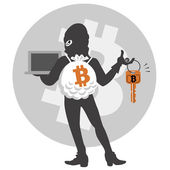 Bitcoin hacker — Stock Vector