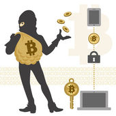 Bitcoin hacker and transaction — Stock Vector