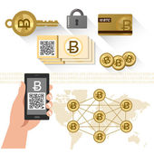 Bitcoin related items - P2P system, secure key — Stock Vector