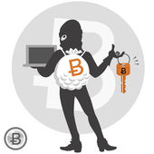 Digital currency concept - bitcoin hacker — Vector de stock