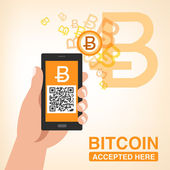 Bitcoin Accepted, Smartphone with QR code — Stock Vector