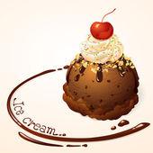 チョコレート アイス クリームとチョコレート ソース — ストックベクタ