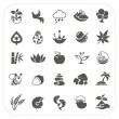 Nature icons set on white background — Stock Vector