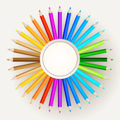 Color pencils on paper background — Stock Vector
