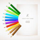 Цветные карандаши с бумагой — Cтоковый вектор