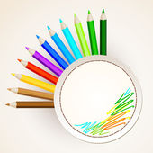 Color pencils with circle paper — Stock Vector