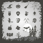 Halloween icons with Halloween background — Stock Vector