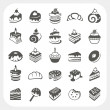 Cakes and dessert set — Stock Vector
