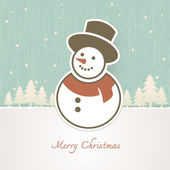 Christmas Snowman with trees covered in snow — Stock Vector