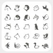Animals icons set — Stock vektor