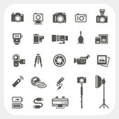 Camera icons and Camera Accessories icons set — Stock Vector