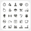 Health and Fitness icons set — 图库矢量图片