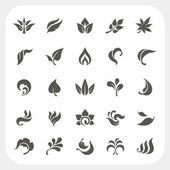 Leaf icons set — Stock Vector