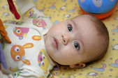 Baby on the bed — Foto Stock