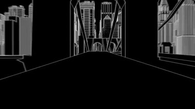 City sketch ink animation — Stockvideo