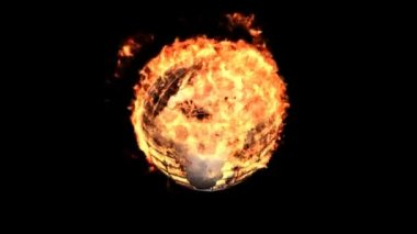 Burning metallic earth isolated on black (with matte) — Stock Video