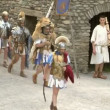 Roman and gallic soldier during a reenactment of war between Romans and Cottians — Stock Video
