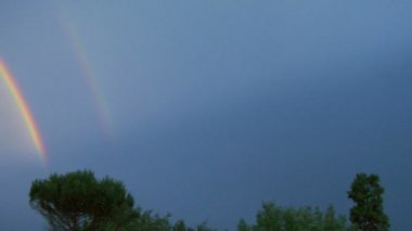 Lightning strike with rainbow — Stock Video