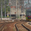 Italian commuter train crossing the city — Stock Video #13764315